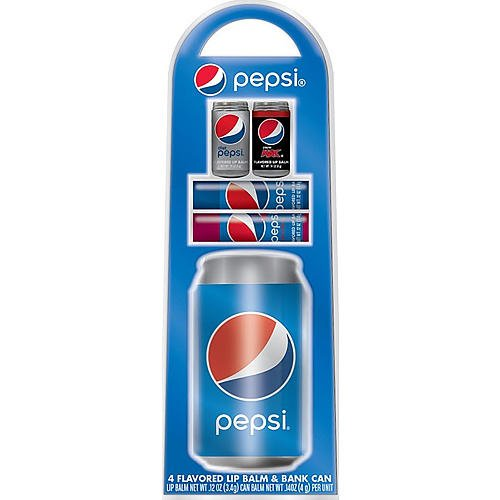 GBG Beauty Pepsi Bank Can and 4 Lip Balms (Flavored Pepsi)