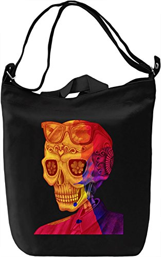 Flower Skull Borsa Giornaliera Canvas Canvas Day Bag| 100% Premium Cotton Canvas| DTG Printing|