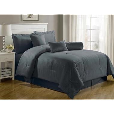 Chezmoi Collection 7-Piece Hotel Dobby Stripe Comforter Set, California King, Gray