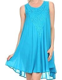 Sakkas Alechia Mid Length Tank Top Sleeveless Embroidered Caftan Dress / Cover Up