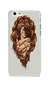 iPhone 6 Case Cover, Colorful Printed Lion Girl Illustration Hard & Flexible Reinforced PC Skin Cover for iPhone 6 4.7inch Transparent
