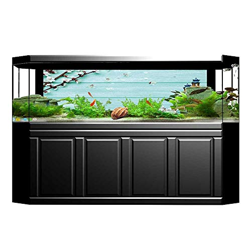 Jiahong Pan Fish Tank Poster Aquarium Background Backdrop PVC Adhesive Petals Branch on Planks Seasonal White Brown Seafoam Sticker Wallpaper Fish Tank L23.6 x H19.6