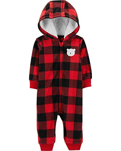 Carter's Baby Boys' One Piece Fleece Jumpsuit Buffalo Check, 6 Months (Jump Suit Kids)