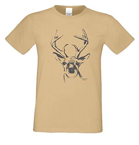 T-Shirt mit Motiv - Hirsch Kopf - Lustiges Outfit auch als Geschenk passend zu Oktoberfest + Wiesn + Volksfest Beige 1