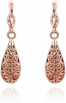 megko Fashion Jewelry 18k Rose Gold Carven Flower Teardrop Hoops Drop Hooks Studs Earrings for Women