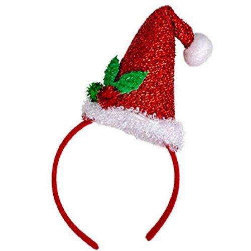Christmas House Mens Glittery Santa Hat Headband with Holly One Size - 1/pkg.