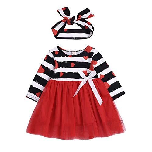 ZOELNIC Baby Girls Valentine Long Sleeve Dress Toddler Girl Heart Striped Red Tutu Dress + Headband (Red, 2-3 Years)