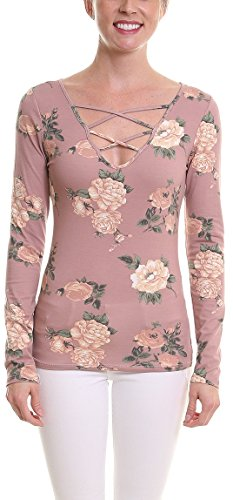 Pier 17 Floral Long Sleeve Shirt by Casual Long Sleeve Top For Women - V Neck - Made From Cotton/Rayon - True To​ ​Fit​ Strechy Fabric - Lightweight and Soft (Large, Pink) (Pink Floral Shirt Top)