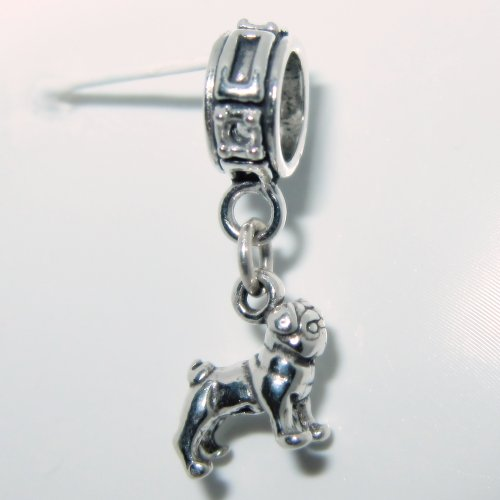 Pug Smaller Sterling Silver Dangle Dog Charms (Silver Sterling Pug)