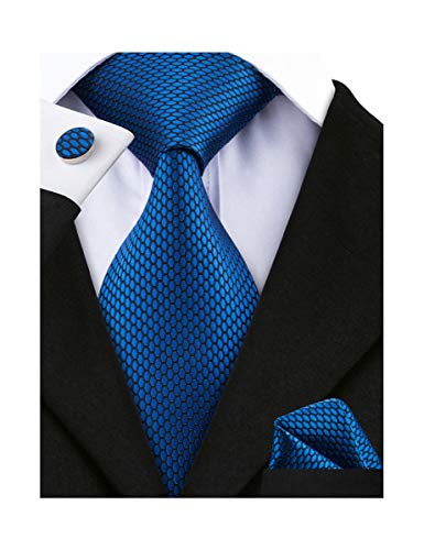 Barry.Wang Men Tie Set Solid Silk Necktie Pocket Square Cufflinks Extra Long Tie (Blue Plaid)