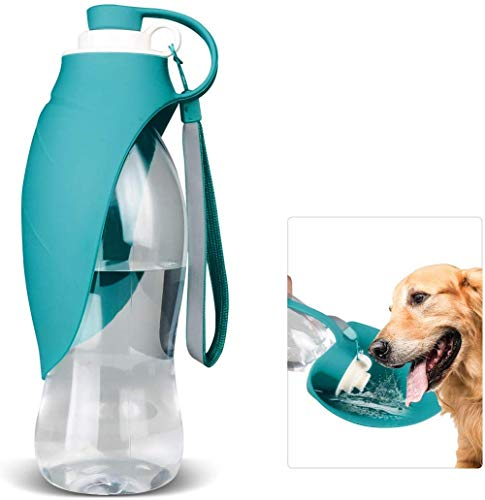 Dog Water Bottle and Food Bottle for Dogs, 20 Oz Dog Travel Water Bottles,With Dog Waste Bags Dispenser in Dinosaur…