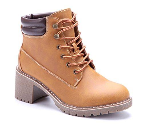 1b7baec966e4 Schuhtempel24 Damen Schuhe Boots Stiefel Stiefeletten Blockabsatz 6 cm Camel