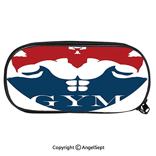 (Large Capacity Student Pencil-boxStrong Muscular Man with Biceps Powerful Athlete Bodybuilder Trainer Gym Logo Decorative Fashion Cute Animals PU Pencil HoldersRed Blue White)