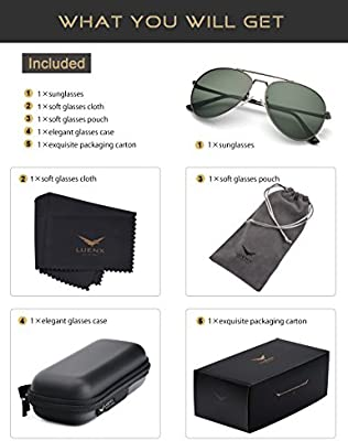 154e90ea51 LUENX Men Aviator Sunglasses Polarized for Driving with case 60MM A-1614-9