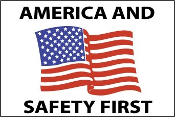 NMC HH90 2'' x 3'' PS Vinyl Hard Hat Emblem w/Legend: ''America And Safety First'', 12 Packs of 25 pcs