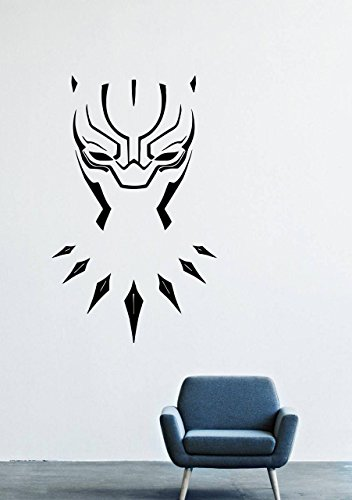 T'challa Costume (Wall Decals Decor Viny Black Panther Marvel Comics Superhero T'Challa Power Shoes Costume Mask Superpower Claws Africa Nubyyskyy Carbon Tiger Prince Charles, Mr. Luc Okonkvo Male Boy Ornament LM0680)