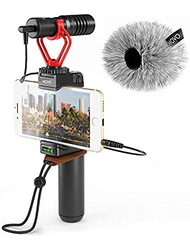 Movo Smartphone Video Rig with Shotgun Microphone  Grip Handle  Wrist Strap for iPhone 5C  5S  6S   Regular and Plus   Samsung Galaxy  Note and More