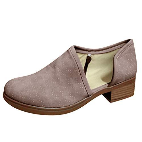 (JJHAEVDY Women's Ankle Bootie Side V Cut Low Side Split Chunky Heel Slip On Leather Short Boots Non-Slip Fall Shoes)