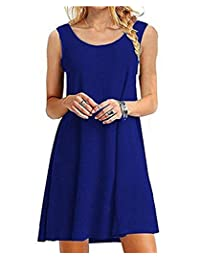GABREBI Women's Casual Loose T-Shirt Dress Sleeveless Summer Tank Dresses