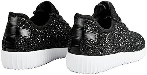 JKNY Kids Girls Fashion Metallic Sequins Glitter Lace up Light Weight Stylish Sneaker Shoes