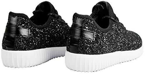 Femmes Mode Paillettes Métalliques Paillettes Lacer Jusquà Poids Léger Baskets Chaussures Noires