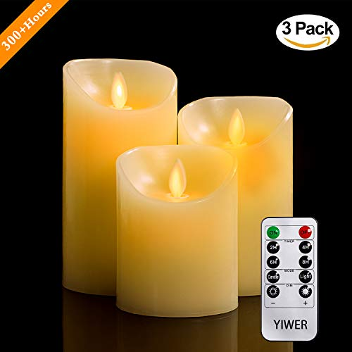 Flameless Candles, 4'' 5'' 6'' Set of 3 Real Wax Not Plastic Pillars, Include Realistic Dancing LED Flames and 10-key Remote Control with 2/4/6/8-hours Timer Function, 300+ Hours-YIWER (3, Ivory) by YIWER (Image #2)