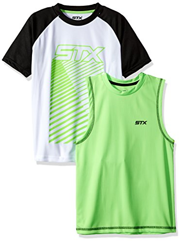 STX Little Boys Muscle Tank and T-shirt Set, Black/Lime-SH55, 5/6