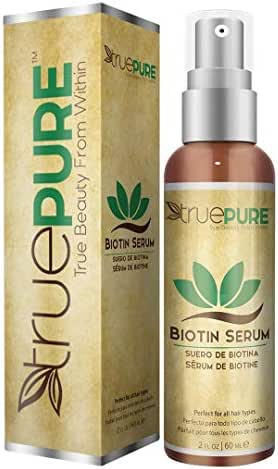 TruePure Biotin Hair Growth Serum - Hair Loss Prevention Treatement For Men & Women With Fine, Thinning Hair - Fragrance Free & Sulfate Free DHT Blocking Hair Care Formula, 2oz
