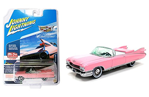 (1959 Cadillac Eldorado Convertible Pink Limited Edition to 3600 pieces Worldwide 1/64 Diecast Model Car by Johnny Lightning JLCP7045)