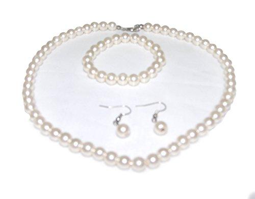 Earrings Necklace Imitation Bracelet (V G S Eternity Fashions Jewelry ~ Cream Faux Imitation Pearls Necklace Bracelet and Earrings Jewelry Set Casual Formal for Women Girlfriends Teens)