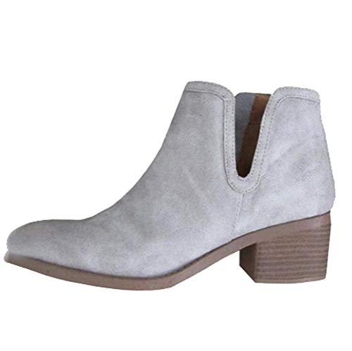Heel Low Zipper Leather Boot Tootu Thick Gray Boot Snow Heel Boot Women Boot qAEWHt