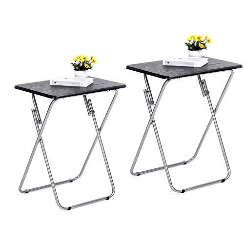 Vintage Tv Trays - Aingoo Folding TV Trays 2 Pcs Small Snack Metal Dinner Tray Side Table Black