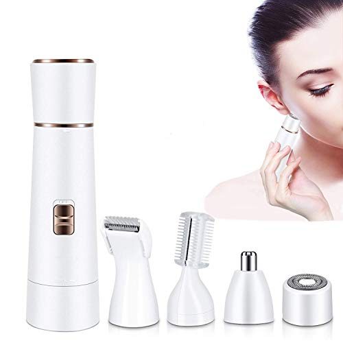 Hanic Women Hair Remover Facial Hair Removal for Women 4 in 1 Waterproof Painless Coldless Hair Trimmer Including Eyebrow Razor Nose Trimmer Facial Shaver Body Shaver USB Charging White