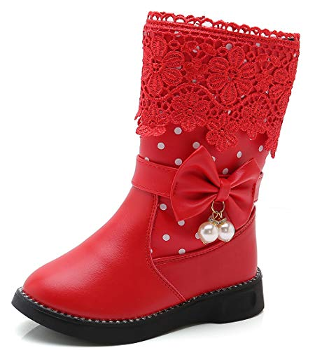 DADAWEN Girl's Waterproof Lace Bowknot Side Zipper Fur Winter Boots (Toddler/Little Kid/Big Kid) Red(Update) US Size 1 M Little Kid