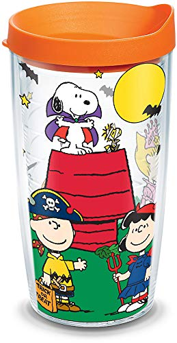 Tervis 1163167 Peanuts - Halloween Trick-or-Treating Insulated Tumbler with Wrap and Orange Lid, 16oz, Clear]()