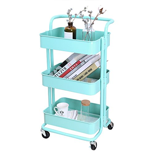 3-Tier Metal Mesh Storage Utility Cart with Brake Caster wheels, Rolling Cart with Removable Handle, Turquoise - 3 Tier Rolling Carts