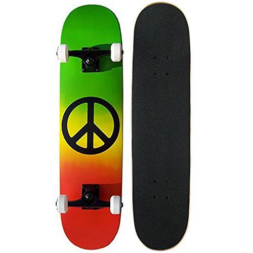(Krown Intro Skateboard, Red/Rasta Peace)