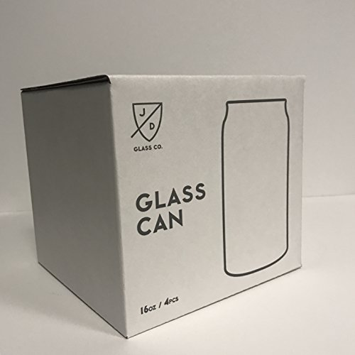 JD Glass Co. Glass Can 16 Ounce - 4 Pack by JD GLASS CO.