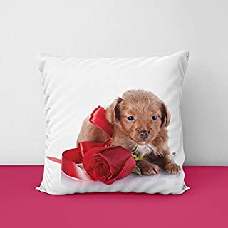 41nszLDOiNL. SS320 Dog Rose Square Design Printed Cushion Cover