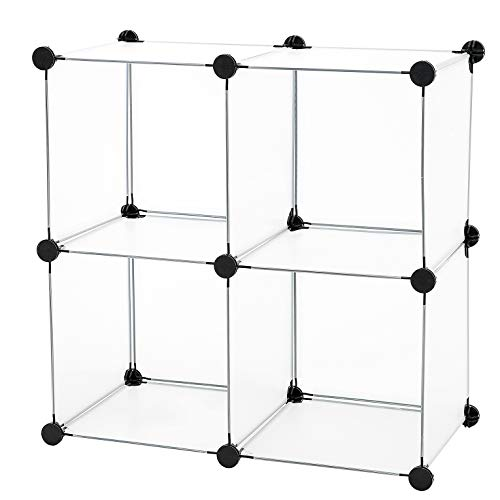 C&AHOME - DIY 4 Cube Bookcase Shelf Semitransparent Storage Organizer Closet Cabinet, Translucent