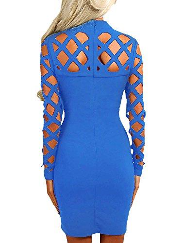 Pour femme Bleu Lattice Cut Out Robe moulante à manches longues Robe de soirée Club Wear Soirée Porter Taille S UK 8–10EU 36–38
