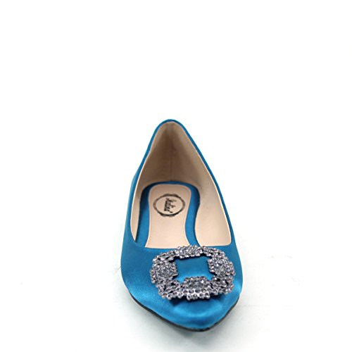New Brieten Mujeres Rhinstones Pointy Toe Comfort Zapatos Planos Azules