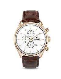 Vincero Chrono S Reloj - Banda de Cuero Italiana - Reloj 43mm Cronógrafo - Movimiento de Cuarzo Japonés (Oro Rosa/Blanco)