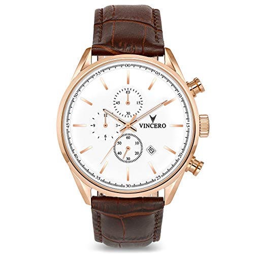 (Vincero Luxury Men's Chrono S Wrist Watch — Rose Gold with Brown Leather Watch Band — 43mm Chronograph Watch — Japanese Quartz Movement)