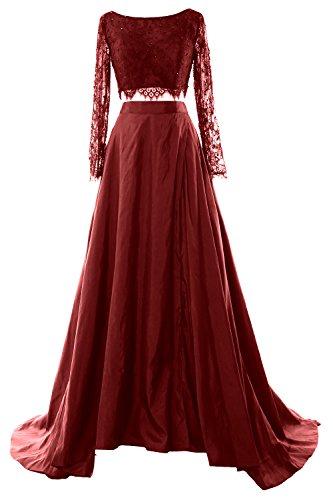 MACloth Women 2 Piece Long Sleeve Lace Maxi Prom Dress 2017 Formal ...