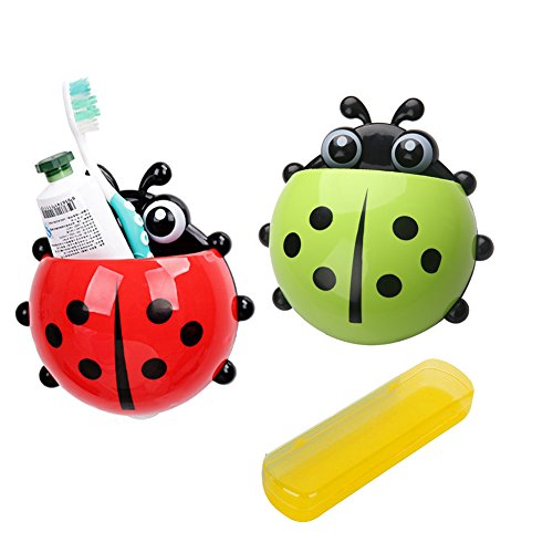 Toothbrush Holder with Suction Cup, 2Pcs Wall Mounted Plastic Ladybug Shape Toothbrush Holder (Green & Red) with 1 Travel Toothbrush Case (Yellow)