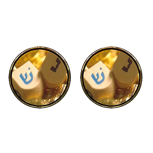 GiftJewelryShop Gold Plated Hanukkah Holiday Dreidel Photo Stud Earrings 12mm (Hanukkah Holiday Photo)