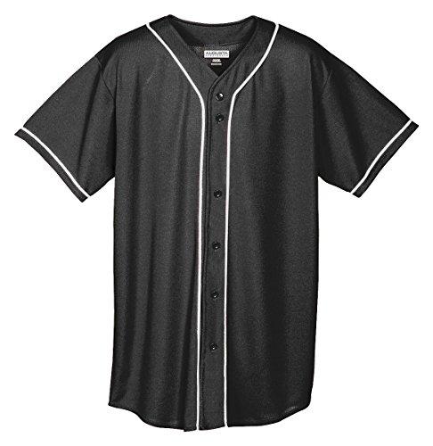 Augusta Sportswear Augusta Wicking Mesh Button Front Jersey with Braid Trim, Black/White, ()