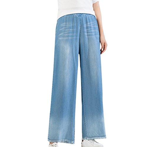 Xinwcanga Femmes Pantalon Large Vintage Taille Haute en Evase Denim Trousers Houppe Jeans Lumire Bleu