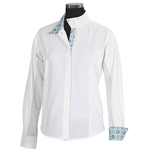 Equine Couture Girl's Kelsey Long Sleeve Show Shirt, White/